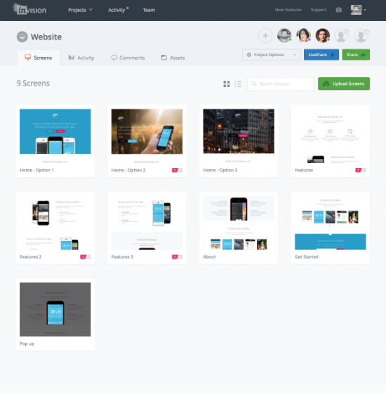 InVision: Project Screens