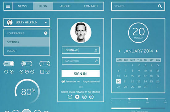 Solid: 30 Free GUI, Icons and Website PSD Templates Featuring Contour-style Graphics