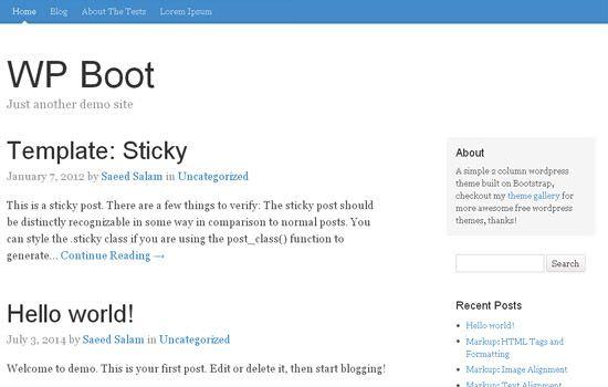WP boot WordPress theme