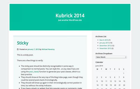 Kubrick 2014 WP theme