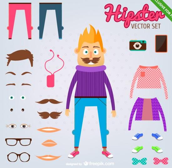hipster-vector-set