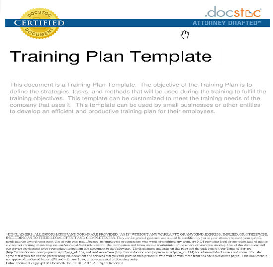 Training Plan Template  Business Manual Templates