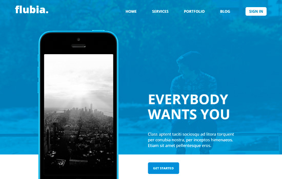 Flubia: mobile app based responsive template