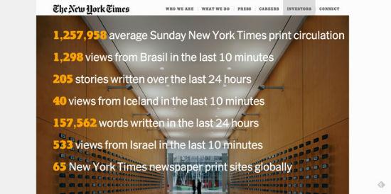 Die Firmenseite der New York Times Company