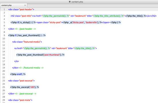 Die Codequalität des Baskerville-Themes, hier: content.php