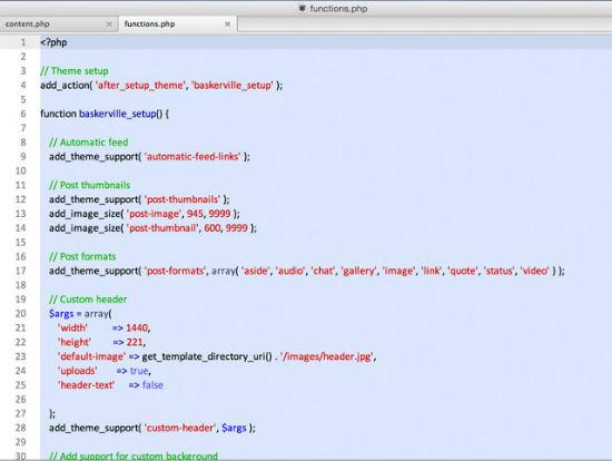 Die Codequalität des Baskerville-Themes, hier: die functions.php