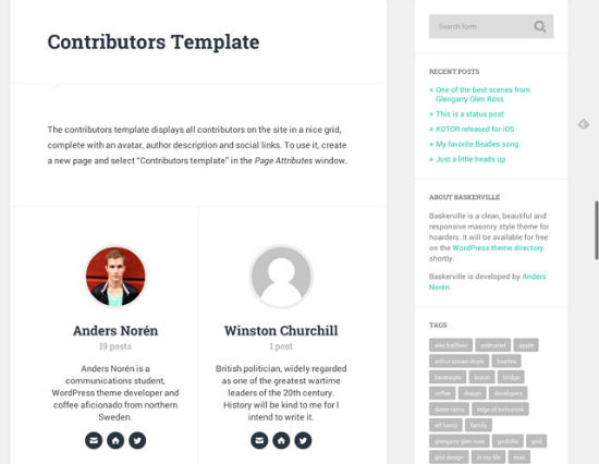 Das Contributors-Template des Baskerville Themes.