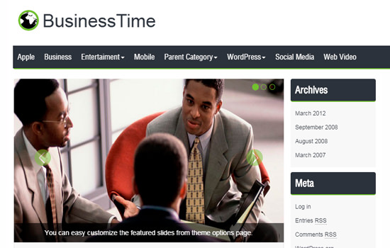 Businesstime wordpress theme