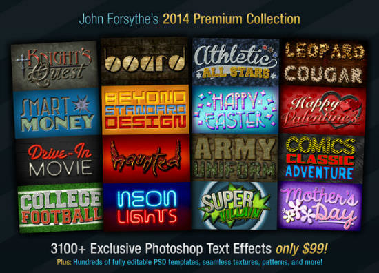 Deal of the Week: John Forsythe's 2014 Photoshop Text Effects Collectionof 3,100+ Elements (NOT for 99$)
