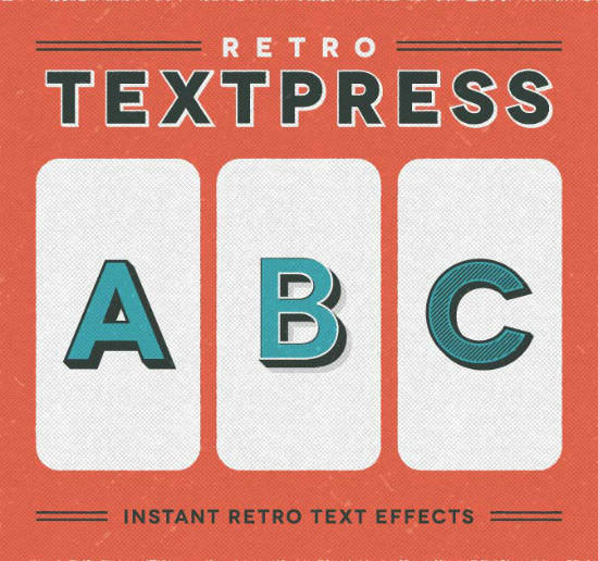 Retro Textpress for Illustrator: 20 Great Retro Text Effects Bargained Away