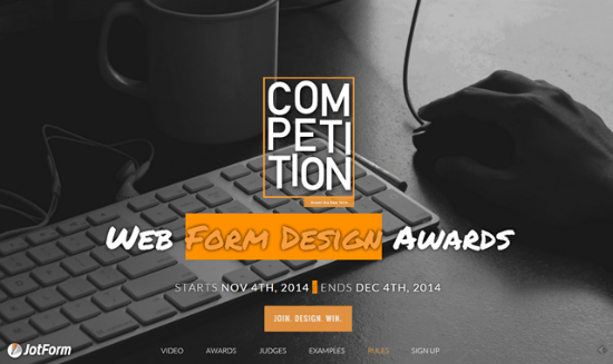 JotForm Runs the Web Form Design Awards – Create a Great Form Design and Win 7,500 Dollars