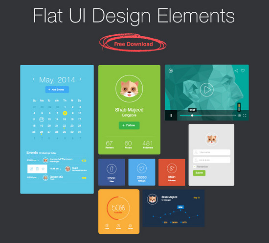 Late-breaking: 29 Free Vibrant Flat UI Packs