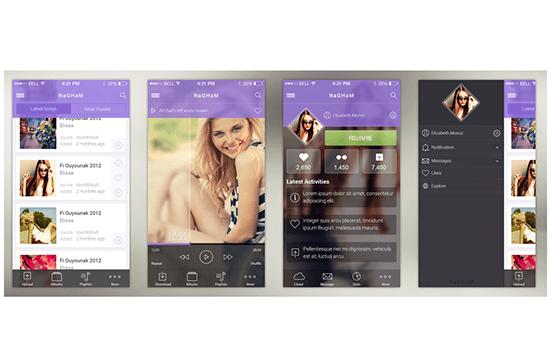 Nagham: Music iOS 7 App Design