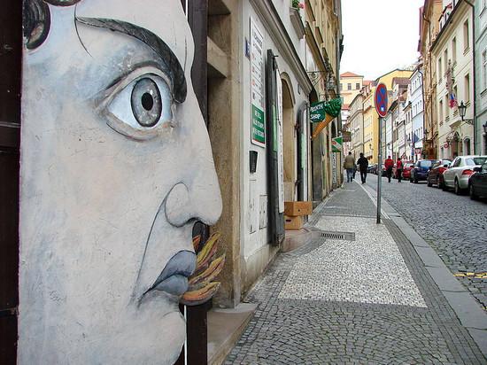 street scene with public art