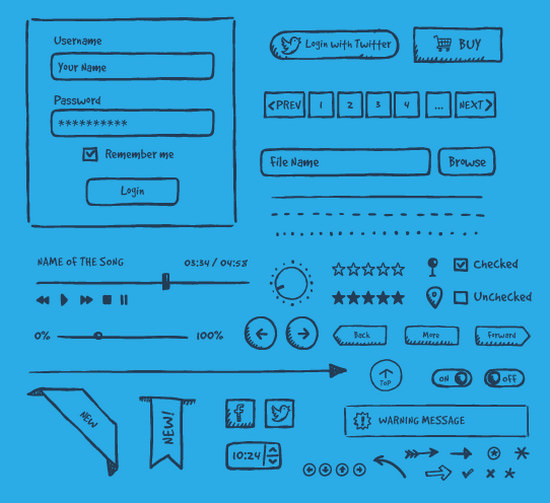hand-drawn ui