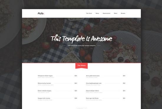 restaurant website layout