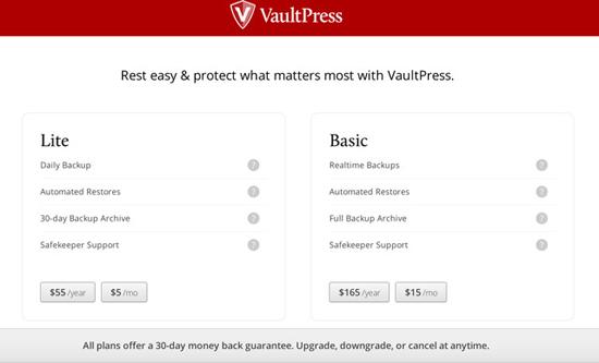 vaultpress-plans