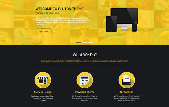 Pluton Single Page Template