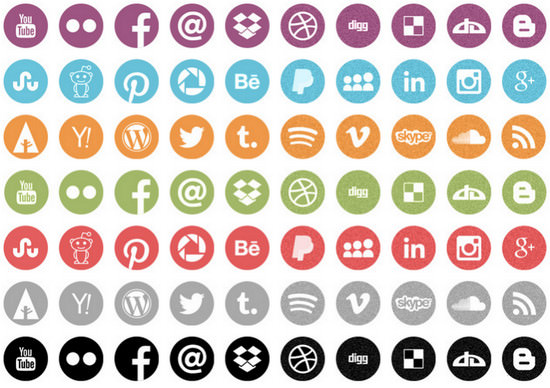 round icons social