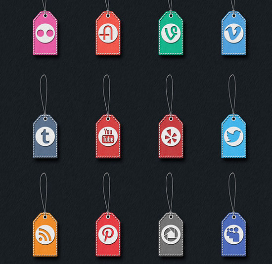 stitched social media icons