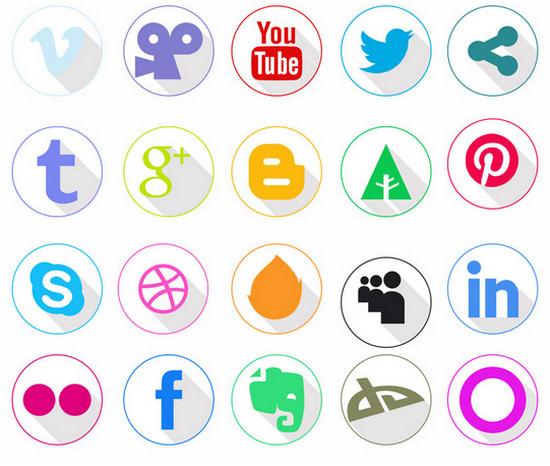 white social media icons
