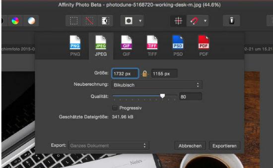 Die Exportfunktion von Affinity Photo