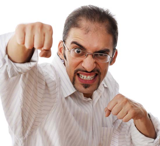 Businessman fighting