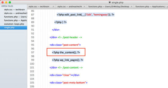 The Spot for the inclusion of as share button code within the single.php