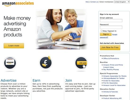 Screenshot Amazon Partnernet