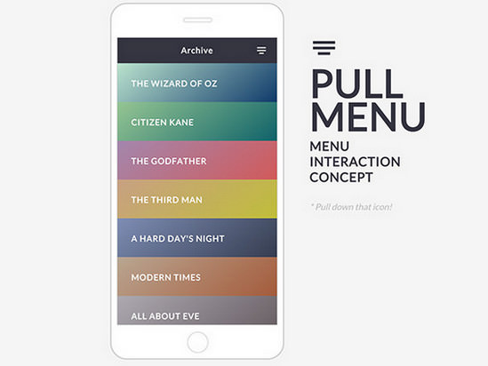 pull menu interaction
