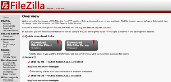 filezilla ftp solution