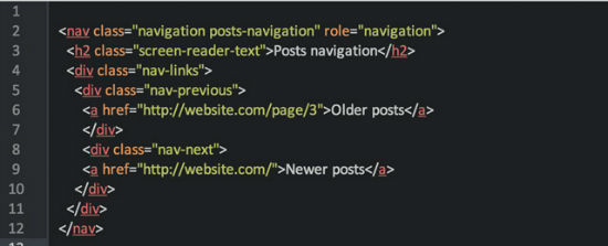 The HTML output for older/newer artikels