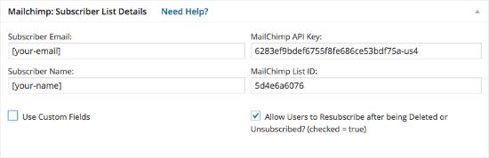 Einstellungen Contact Form 7 for MailChimp Extension