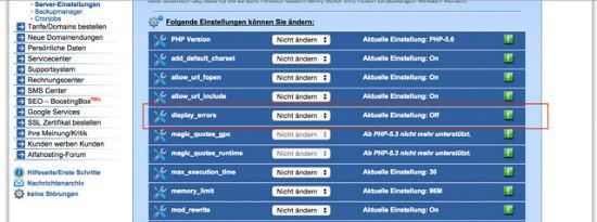 server settings of a webhosting package