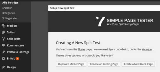 Variationen zum Testen mit dem  Simple Page Tester Plugin