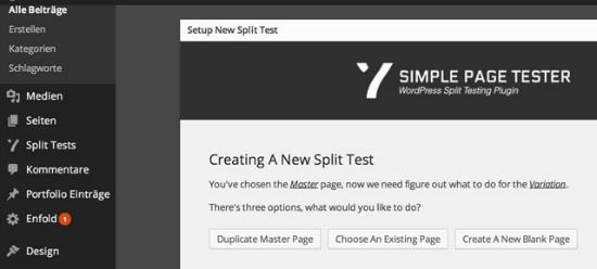 Variationen zum Testen mit dem  Simple Page Tester Plugin