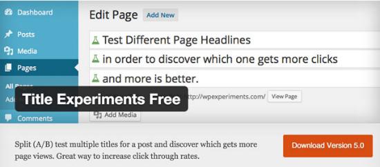 Das Title Experiments Free Plugin für WordPress