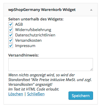 wpSG-Warenkorb-Widget
