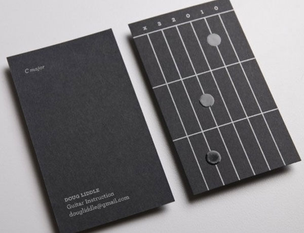 15 unique and inspiring business card designs noupe doug liddle might be one of many guitar instructors in canada but we seriously doubt that any other guitar tutors have a business card as epic as this one reheart Choice Image