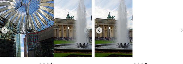 "Two galleries with left-aligned style: the left one with ""contain"" parameter, the right one without"