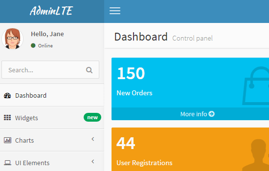 AdminLTE: Dashboard and Control Panel