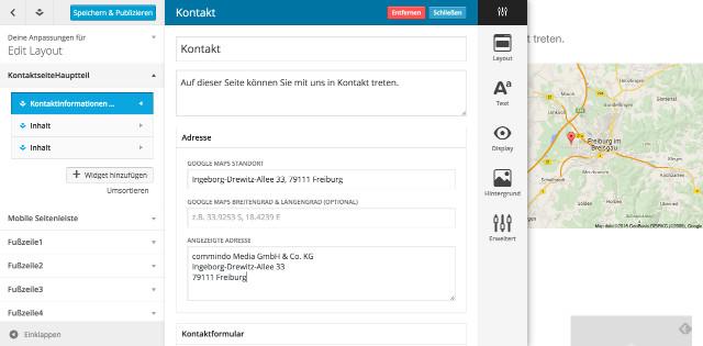 Anpassungen-Kontaktseite