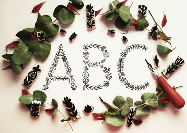 """""""Floral Stamp Typography"""""""