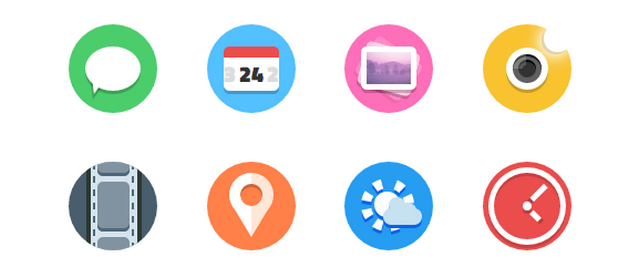 series of vibrant flat icons