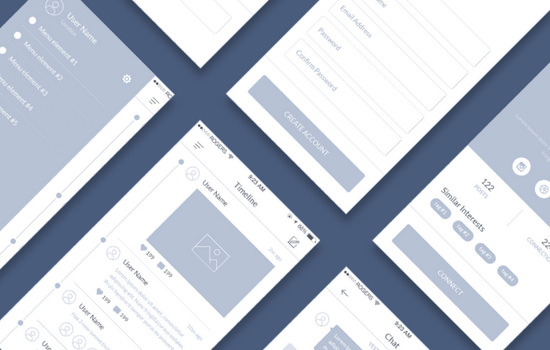 PSD Minimal Mobile Wireframe UI Kit