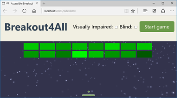 Screenshot of the game using a small window to show SVG scalability feature