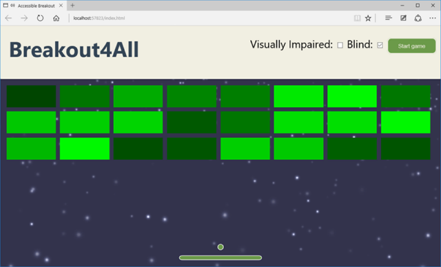 Screenshot of the game using the blind theme. Great graphics but keeping the wide paddle and audio assistance.