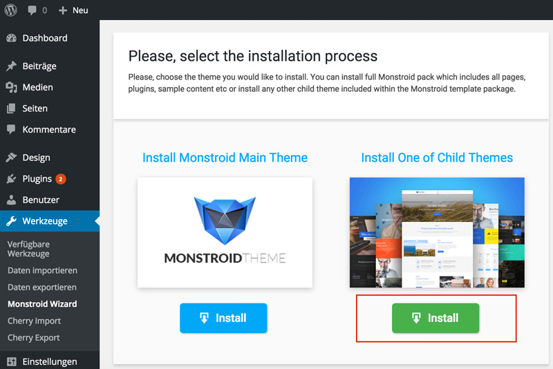 Installaton of Monstroid Child Themes