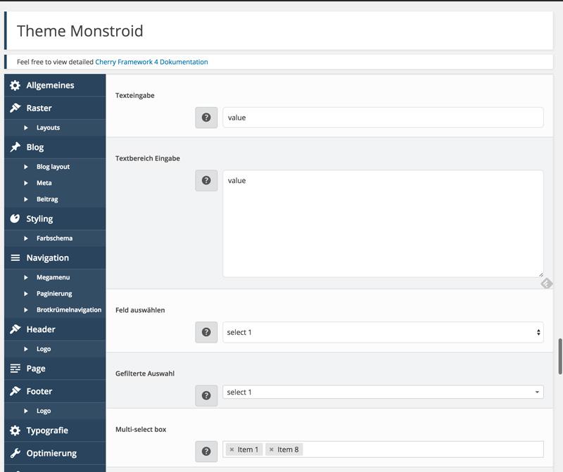 Developer Options of the Cherry Framework
