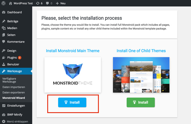 Installing the Monstroid Theme